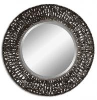Alita Black Woven Metal with Rust Highlights Round Mirror