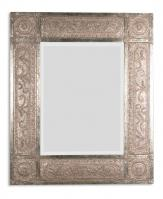 Harvest Serenity Distressed Golden Champagne Leaf Rectangular Mirror