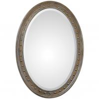 Sylvana Lightly Washed In Gray Glaze Oval Mirror
