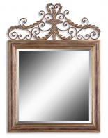 Valonia Gold and Chestnut Brown Square Mirror