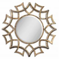Demarco Antiqued Gold Round Mirror