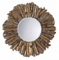 Hemani Antiqued Gold Leaf Round Mirror