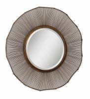 Temecula distressed Rust Brown Round Mirror