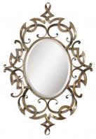 Ameno Oval Golden Champagne Leaf Mirror