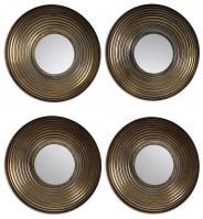 Tondela Antiqued Golden Bronze and Gray Wash Round Mirrors Set of 4