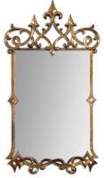 Mirandela Heavily Antiqued Gold and Light Gray Glaze Rectangular Mirror