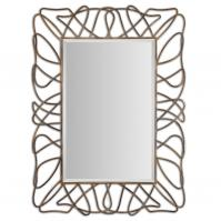 Halsey Heavily Antiqued Gold Plated With Light Gray Accents Rectangular Mirror