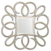 Basilius Oxidized Plated Silver Square Mirror