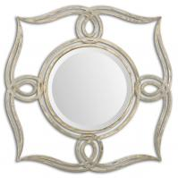 Helena Oxidized Plated Silver Round Mirror
