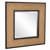 South Hampton Natural Rope Frame with Black Metal Inset and Border Square Mirror