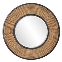 South Hampton Natural Rope Frame with Black Metal Inset and Border Round Mirror