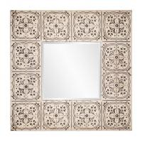 Upton Antique Beige with Silver Distressing Square Mirror