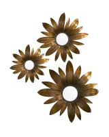 Fleur Flower 3-D Antique Copper & Gold with Black Accents and Convex Mirrors