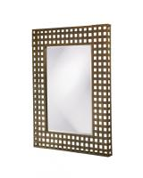 Patrick Rectangular Antique Black with Rust Highlights Weaved Metal Mirror