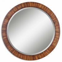 Jules Antiqued Zebrano Veneer Round Mirror