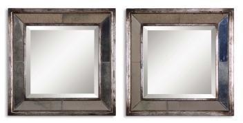 Davion Squares Antiqued Silver Leaf Rectangular Mirrors (Set Of 2)