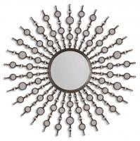 Kimani Antiqued Silver Round Mirror