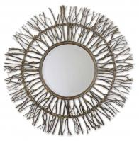 Josiah Real Birch Branches Round Mirror