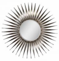 Sedona Round Antiqued Silver Leaf with Burnished Undertones Mirror