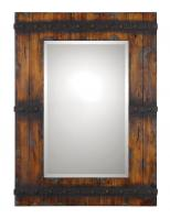 Stockley Rectangular Antiqued Mahogany with Burnished Details Mirror