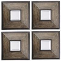 Fendrel Square Distressed Wood with Rustic Dark Bronze Mirror
