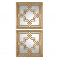 Piazzale Lightly Antiqued Gold Leaf Square Mirror Set of 2