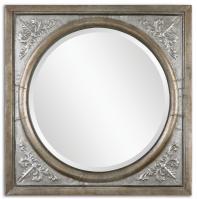 Ireneus Antiqued Burnished Silver Square Mirror