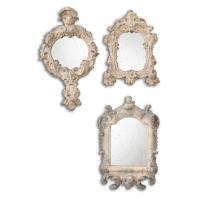Rustic Artifacts Reflections Burnished Gray With Rust Accents Unique Mirror Set of 3