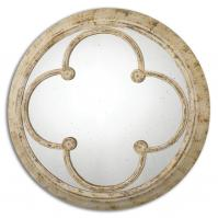 Livianus Distressed Rust Ivory Round Mirror