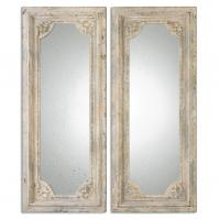 Rapallo Aged Ivory Rectangular Mirrors Set of 2