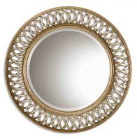 Entwined Scratched Silver Center Round Mirror