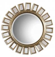 Cyrus Distressed Silver Leaf Round Mirror