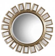 Uttermost Cyrus Distressed Silver Leaf Round Mirror