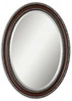 Montrose Oval Distressed Dark Mahogany Wood Tone Mirror