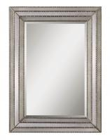 Uttermost Seymour Rectangular Antiqued Inlays with Burnished Silver Details Mirror