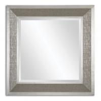 Naevius Metallic Silver Gray Wrap Accented With Silver Leaf Details Rectangular Mirror