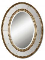 Lara Antiqued Silver Leaf Oval Mirror