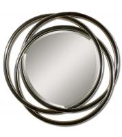 Uttermost Odalis Matte Black with Silver Leaf Round Mirror