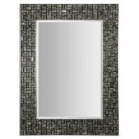 Allaro Mosaic Black Glass Tiles Rectangular Mirror