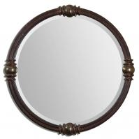 Dinora Rust Bronze Accented With Heavily Antiqued Burnished Champagne Details Round Mirror