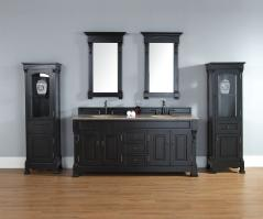72 Inch Double Sink Bathroom Vanity in Antique Black