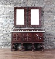 60 Inch Double Sink Bathroom Vanity in Antique Walnut