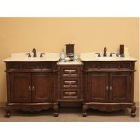 83 Inch Double Sink Bathroom Vanity in Medium Walnut