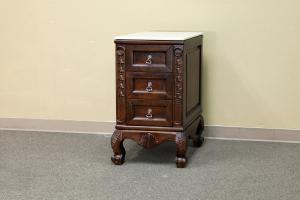 Walnut 3 Drawer Side Cabinet with Marble Top