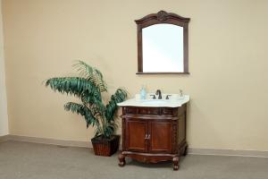 34.6 Inch Single Sink Bathroom Vanity with Carerra White Marble
