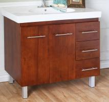 40 Inch Single Sink Bathroom Vanity with a Medium Walnut Finish