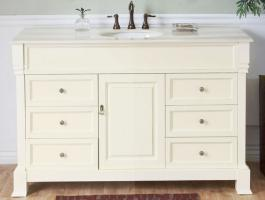 Delicieux 50 Inch Single Sink Bathroom Vanity In Cream White