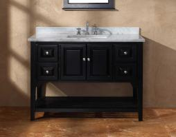 Shallow Depth Farmhouse Sink : 48 Inch Single Sink Bathroom Vanity with Four Drawers ...