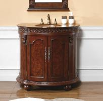 37 Inch Single Sink Bathroom Vanity with Antique Gold Glass Top