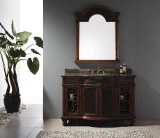 53 Inch Single Sink Bathroom Vanity with Baltic Brown